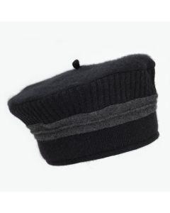 Beret - Black with Grey