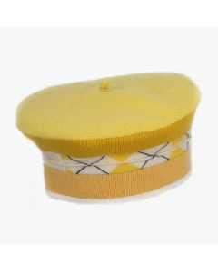 Beret - Yellow with Pattern