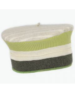 Beret MR2038 Cream Stripe w/ Green