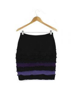 Banded Skirt - Black with Purple