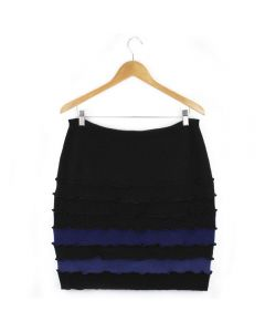 Banded Skirt - Black with Blue