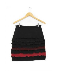 Banded Skirt - Black with Red