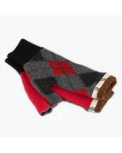 Fingerless Mittens - Pattern Grey, Red with Brown
