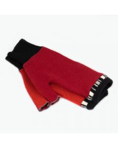 Fingerless Mittens - Red with Black