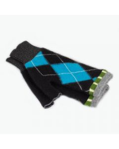 Fingerless Mittens - Pattern Black, Blue with Green