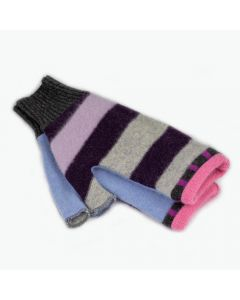 Fingerless Mittens - Pattern Grey, Purple, Blue with Pink