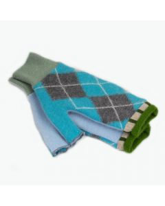 Fingerless Mittens - Pattern Blue, Grey with Green