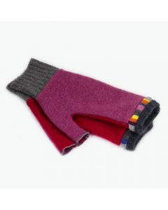 Fingerless Mittens - Pink, Red with Grey