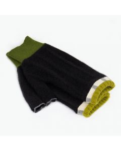 Fingerless Mittens - Black with Green