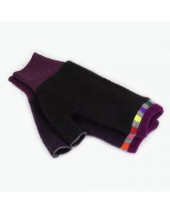 Fingerless Mittens - Black with Burgundy