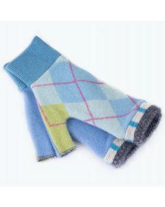 Fingerless Mitten - Small MS9302 Light Blue & Green Argyle w/ Grey