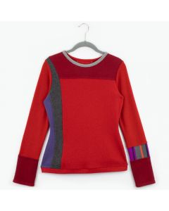 Trixie Sweater Purple w/ Charcoal Grey & Blue - X-Small