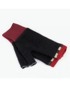 Fingerless Mittens - Black with Red