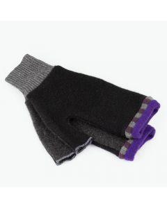 Fingerless Mittens - Black, Grey with Purple