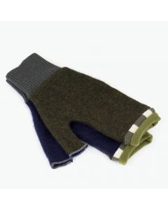 Fingerless Mittens - Green, Blue