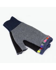 Fingerless Mittens - Grey, Black with Blue