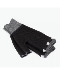 Fingerless Mittens - Black with Grey