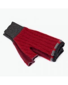 Fingerless Mittens - Red with Grey
