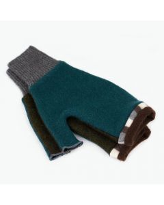 Fingerless Mittens - Teal, Green with Brown