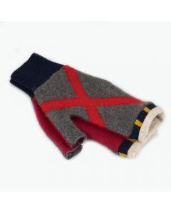 Fingerless Mittens - Pattern Grey, Red