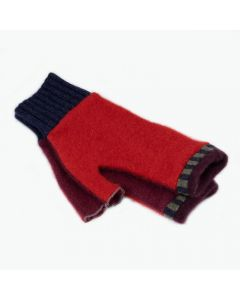 Fingerless Mittens - Red with Burgundy