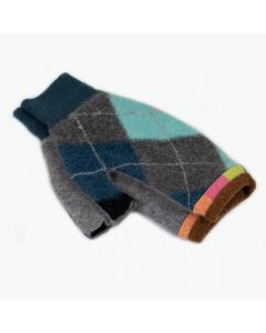 Fingerless Mittens - Pattern Grey, Teal, Blue