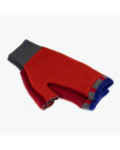Fingerless Mittens - Red with Blue