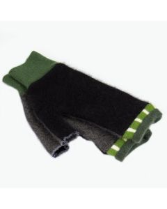 Fingerless Mittens - Black, Grey with Green