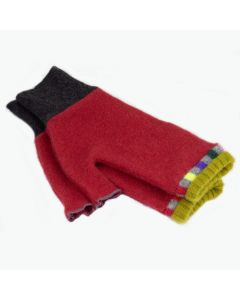 Fingerless Mittens - Red with Green