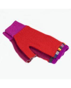 Fingerless Mittens - Red, Pink