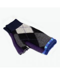 Fingerless Mittens - Pattern Black, Grey with Purple