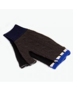 Fingerless Mittens - Brown, Black with Blue