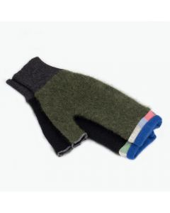 Fingerless Mittens - Green, Black with Blue