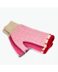 Fingerless Mittens - Pink with Red