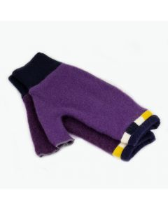 Fingerless Mittens - Purple with Yellow, Blue