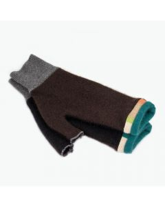 Fingerless Mittens - Brown, Black with Teal
