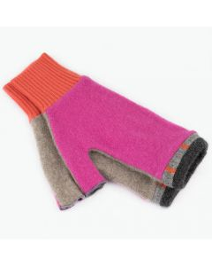 Fingerless Mitten MM8150 Hot Pink w/ Grey