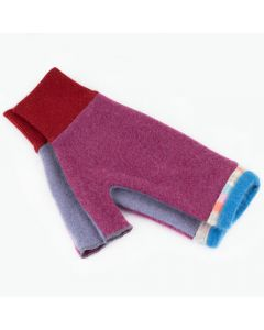 Fingerless Mittens - Pink with Purple, Blue