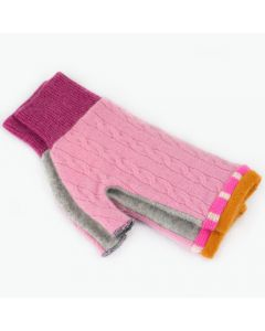 Fingerless Mitten MM8215 Pink Cable w/ Grey & Orange - Medium
