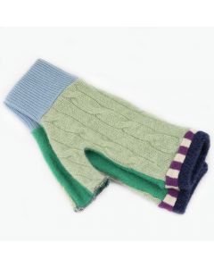 Fingerless Mittens - Green with Blue