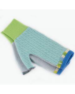 Fingerless Mitten MM8331 Aqua Blue w/ Green - Medium