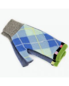 Fingerless Mitten MM8351 Blue Argyle w/ Green - Medium