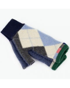 Fingerless Mitten - Medium MM9002 Blue Argyle w/ Green