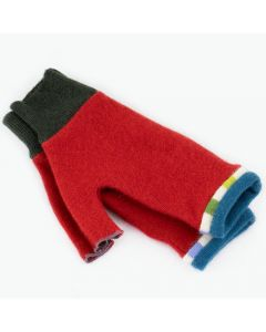 Fingerless Mitten MM9018 Red w/ Blue-Green - Medium