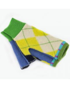 Fingerless Mitten - Medium MM9049 Yellow & Green Argyle w/ Blue