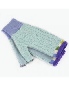 Fingerless Mitten - Medium MM9061 Aqua Blue w/ Green