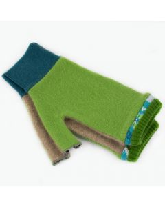 Fingerless Mitten - Medium MM9121 Green & Camel w/ Aqua Blue