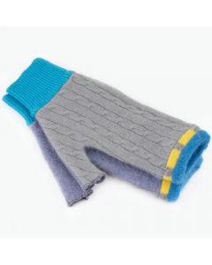 Fingerless Mitten - Medium MM9125 Grey w/ Blue & Yellow
