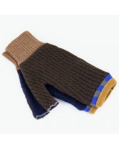 Fingerless Mitten - Medium MM9157 Chocolate Brown w/ Blue