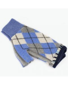 Fingerless Mitten - Medium MM9314 Blue Argyle w/ Grey